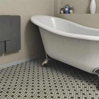 SomerTile 10.25x12-inch Manhattan Hex Antique White with Dot Unglazed Porcelain Mosaic Floor and Wal