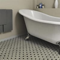SomerTile 10.25x12-inch Manhattan Hex White with Dot Unglazed Porcelain Mosaic Floor and Wall Tile (10 tiles/8.54 sqft.)