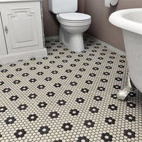SomerTile 10.25x12-inch Manhattan Hex White with Flower Unglazed Porcelain Mosaic Floor Tile (10 tiles/8.54 sqft.)