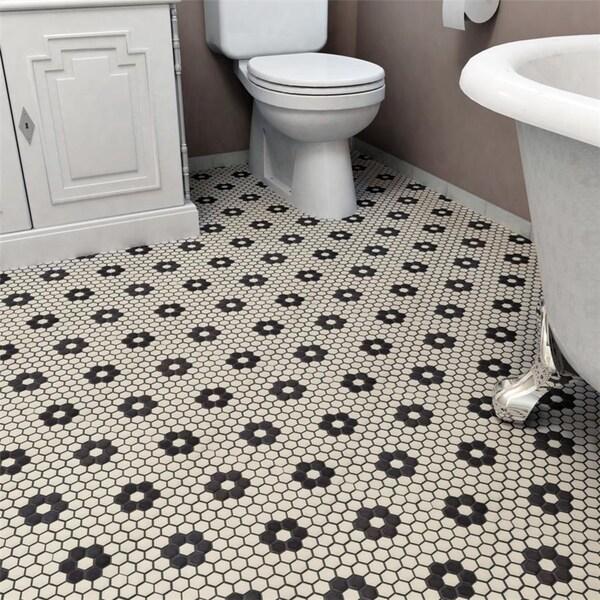 SomerTile 10.25x11.875-inch Manhattan Hex White with Flower Unglazed Porcelain Mosaic Floor Tile (10 tiles/8.65 sqft.)
