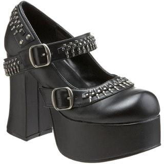 Demonia Women's Black Bullet-studded Platform Heels