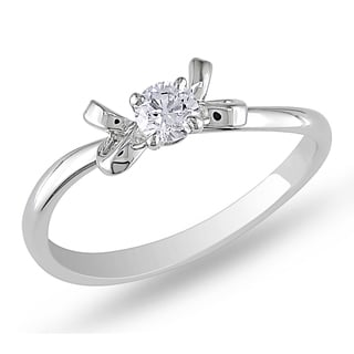 Miadora Signature Collection 14k White Gold 1/5ct TDW Diamond Engagement Ring