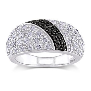 Miadora Sterling Silver 1ct TDW Black and White Diamond Band-style Ring
