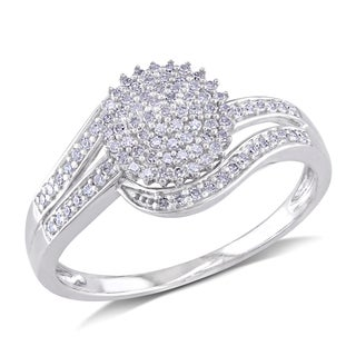 Miadora 10k White Gold 1/3ct TDW Round-cut Diamond Ring