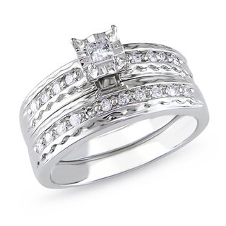 Miadora 14k White Gold 1/3ct TDW Diamond Bridal Ring Set