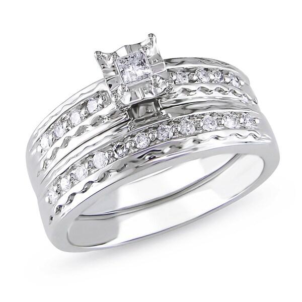 Miadora 14k White Gold 1/3ct TDW Diamond Bridal Ring Set