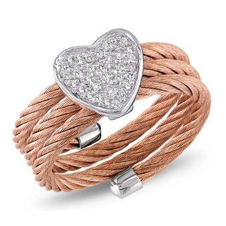 Miadora Roseplated Steel and Silver 1/10ct TDW Diamond Heart Ring (J-K, I2-I3)