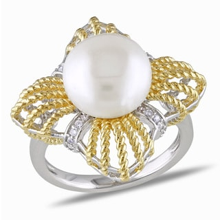 M by Miadora 18k Goldplated Silver Freshwater Pearl and Cubic Zirconia Ring