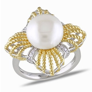 Miadora Gold-Plated Silver Freshwater Pearl And Cubic Zirconia Ring (4 options available)