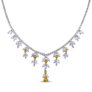 Miadora Signature Collection 14k White Gold 11 3/4ct TDW Diamond and Yellow Sapphire Necklace