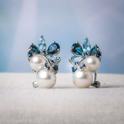 Miadora Sterling Silver Pearl, Blue Topaz and Sapphire Cluster Drop Earrings (6-8.5mm) - White
