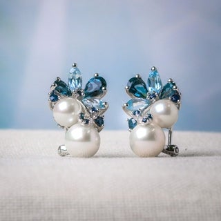 Miadora Sterling Silver Pearl, Blue Topaz and Sapphire Cluster Drop Earrings (6-8.5mm) - 22.7 mm x 12.6 mm x 17.8 mm