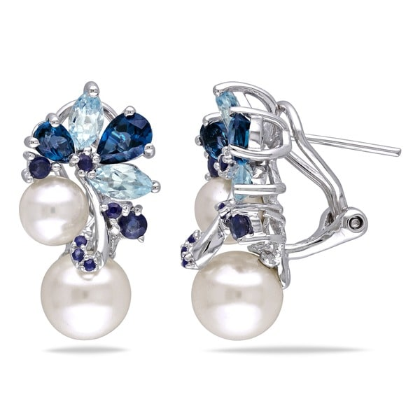Miadora Sterling Silver Pearl, Blue Topaz and Sapphire Cluster Drop Earrings (6-8.5mm)