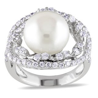 Miadora Sterling Silver Pearl and White Topaz Cocktail Ring (11-12 mm)