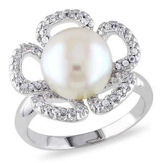 Miadora Sterling Silver Pearl and White Topaz Ring (10-11 mm)