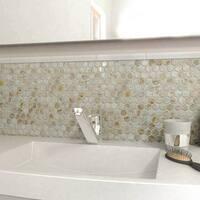SomerTile 11.5x11.625-inch Seashell Hexagon Natural Seashell Mosaic Wall Tile (10 tiles/9.3 sqft.)