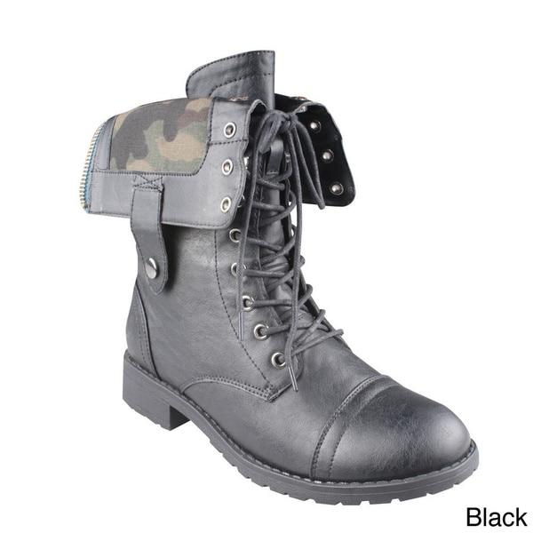 Refresh 'TERRA-12' Women's Lace-up Mid-calf Combat Boots