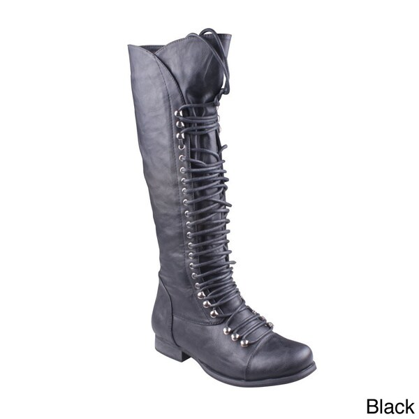 Refresh Women's 'MAE-01' Lace-up Knee-high Combat Boots