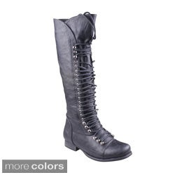 Refresh Women&39s &39MAE-01&39 Lace-up Knee-high Combat Boots - Free