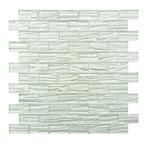 SomerTile 12.25 x 12.25-inch Arbor Subway White Glass Mosaic Wall Tile (Case of 10)