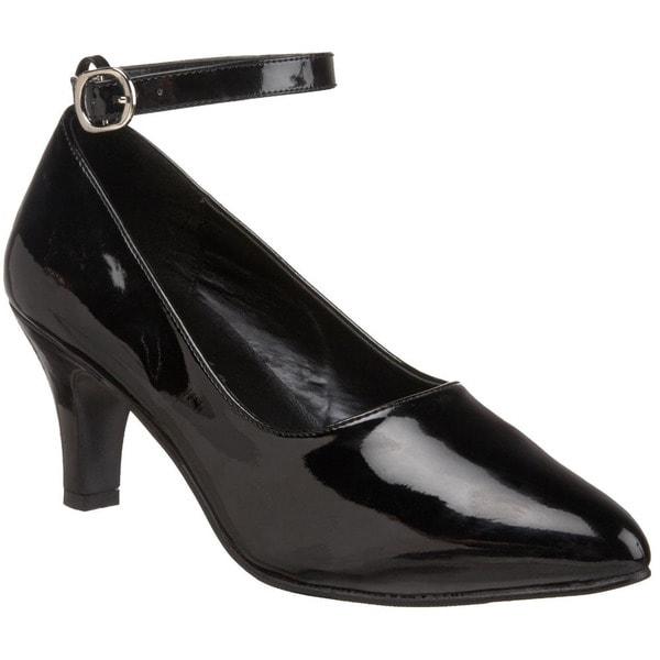 Pleaser Women's 'Divine-431' Black Patent Low-heel Pointed Pumps