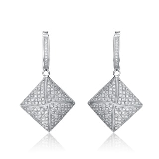 Collette Z Sterling Silver Cubic Zirconia Diamond-shaped Dangle Earrings