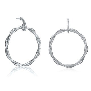 Collette Z Sterling Silver Cubic Zirconia Round Twisted Earrings