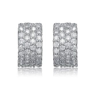 Collette Z Sterling Silver Cubic Zirconia 4-row Cuff Earrings
