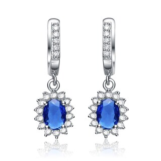 Collette Z Sterling Silver Blue Cubic Zirconia Dangling Earrings