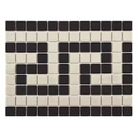 SomerTile 9.75x13-inch Manhattan Square Greek Key Border Unglazed Porcelain Mosaic Floor and Wall Tile (10 tiles)