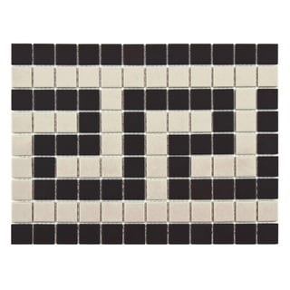 SomerTile 9.75x13-inch Manhattan Square Greek Key Border Unglazed Porcelain Mosaic Floor and Wall Tr