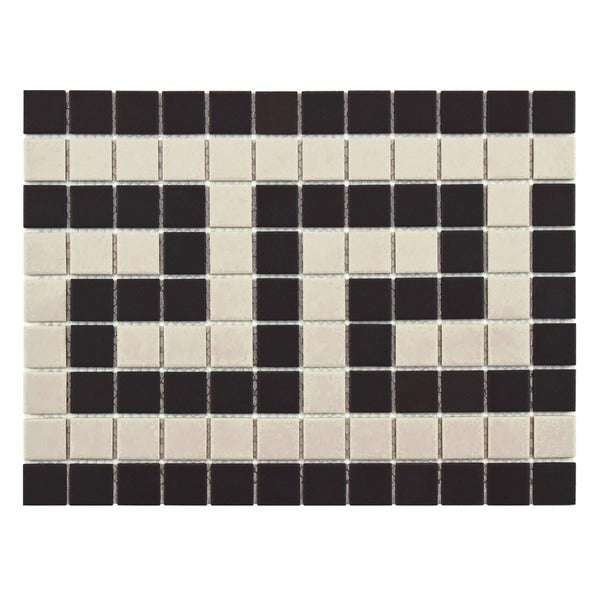 SomerTile 9.75x13-inch Manhattan Square Greek Key Border Unglazed Porcelain Mosaic Floor and Wall Tr