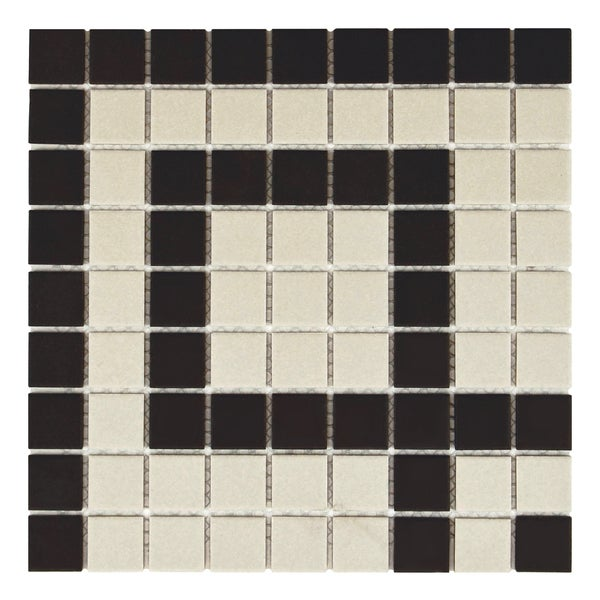 SomerTile 9.75x9.75-inch Manhattan Square Greek Key Corner Unglazed Porcelain Mosaic Floor and Wall Tile (4 tiles)