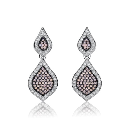 Collette Z Sterling Silver Iridescent Cubic Zirconia Pear Drop Earrings