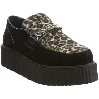 Demonia Men's 'V-Creeper-509S' Black Leopard Panel Creeper Shoes