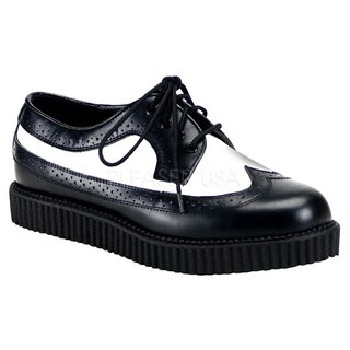 Demonia 'Creeper-608' Black/ White Leather Creeper Shoes|https://ak1.ostkcdn.com/images/products/8300897/P15618366.jpg?_ostk_perf_=percv&impolicy=medium