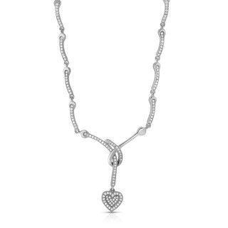 Collette Z Sterling Silver Cubic Zirconia Heart Drop Necklace