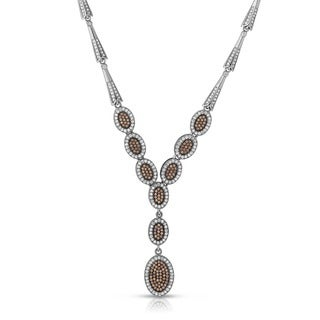 Collette Z Sterling Silver Iridescent Cubic Zirconia Oval Drop Necklace