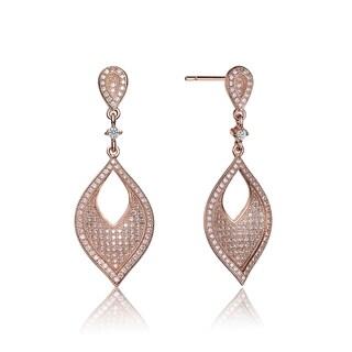 Collette Z Rose-plated Sterling Silver Cubic Zirconia Pear Drop Earrings