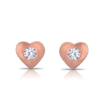 Collette Z Matte Rose-gold Sterling Silver Cubic Zirconia Heart Stud Earrings