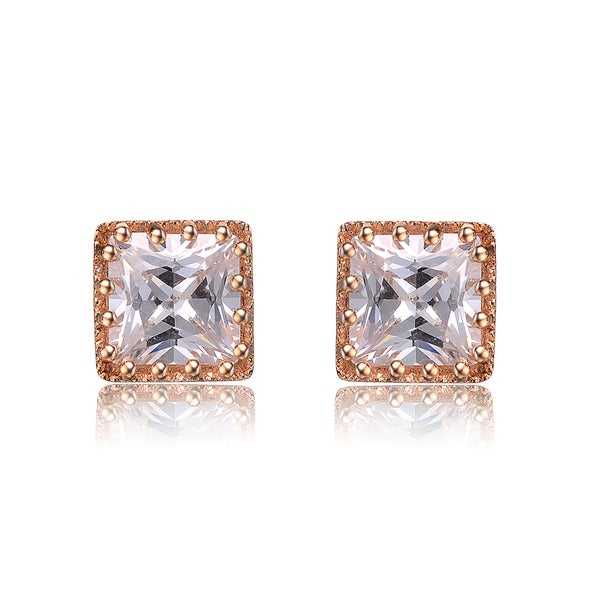 9beed653f Collette Z Sterling Silver Cubic Zirconia Brushed Rose-gold Square Stud  Earrings