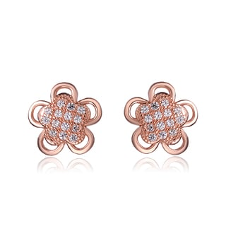 Collette Z Sterling Silver Cubic Zirconia Brushed Rose-gold Flower Stud Earrings