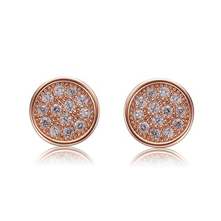 Collette Z Sterling Silver Cubic Zirconia Brushed Rose-gold Round Stud Earrings