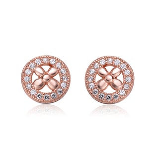 Collette Z Sterling Silver Cubic Zirconia Brushed Rose Gold Round Stud Earrings
