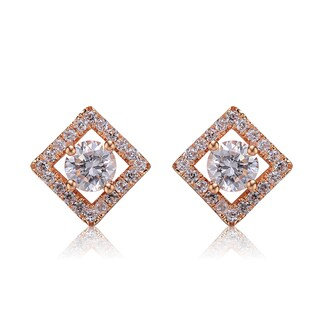 Collette Z Sterling Silver Cubic Zirconia Brushed Rose Gold Square Stud Earrings