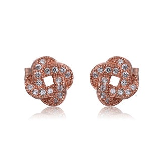 Collette Z Sterling Silver Cubic Zirconia Brushed Rose-gold Stud Earrings