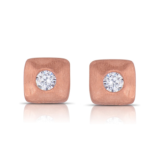 Collette Z Matte Rose-gold Sterling Silver Cubic Zirconia Square Stud Earrings