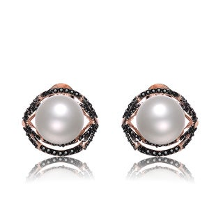 Collette Z Rose- and Black-plated Sterling Silver Cubic Zirconia and Freshwater Pearl Earrings