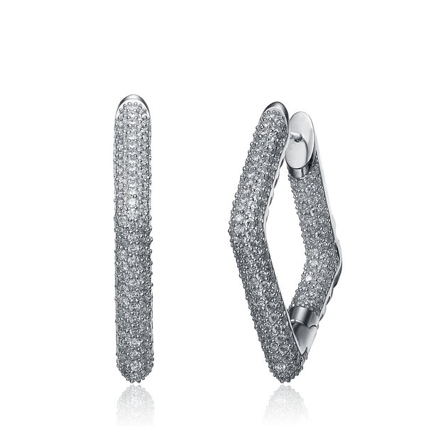 Collette Z Sterling Silver Cubic Zirconia Diamond Shape Hoop Earrings