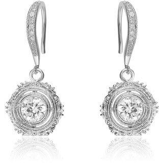 Collette Z Sterling Silver Cubic Zirconia Filigree Drop Earrings